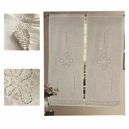 Coppia tendine intaglio bianco ricamate balza finestra balco