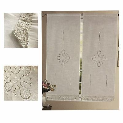 coppia tendine intaglio bianco ricamate balza finestra