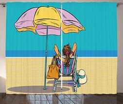 Umbrella Girl Tenda Signora su una sdraio